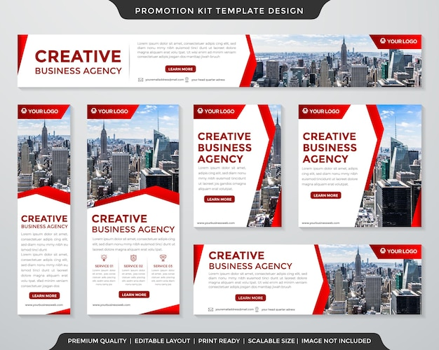 Business promotion kit template layout with abstract and modern style