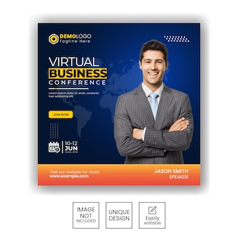 Business promotion marketing agency and corporate social media instagram post banner