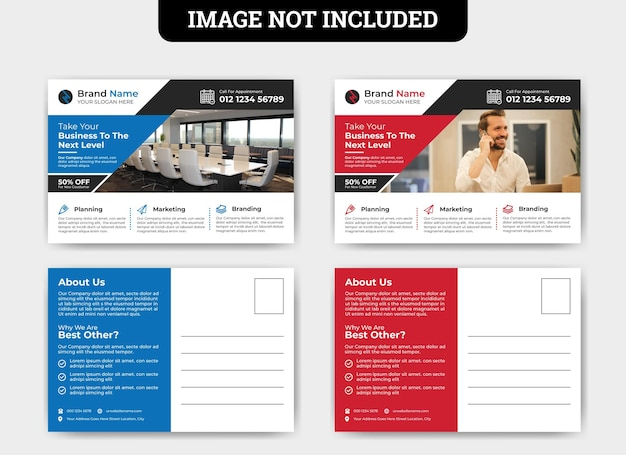 Шаблон открытки для продвижения бизнеса Premium векторы