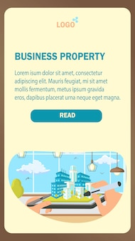 Business property landing page vector template.