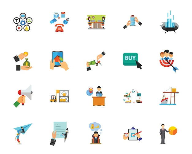 Business purchase icon set