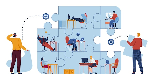 ビジネスパズルの概念、ソリューション、成功のイラスト。戦略とパズルクリエイティブ