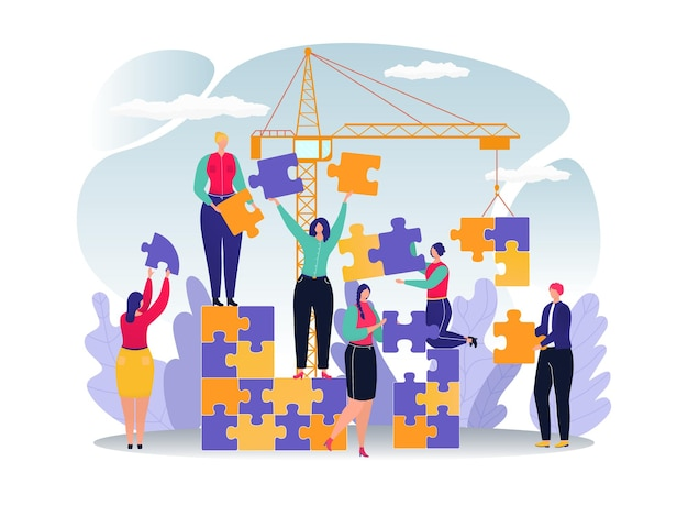 사람들이 성공 팀워크 개념에 대 한 비즈니스 퍼즐