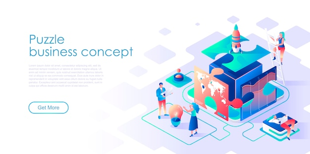 Business puzzle isometric landing page template