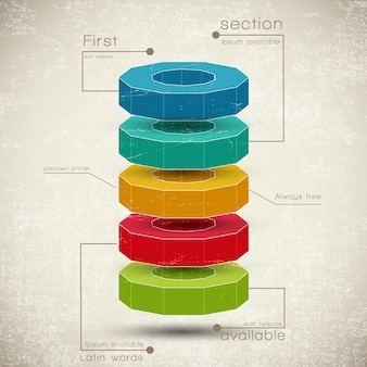 Business pyramid of  charts composition with different colors elements, infographic.