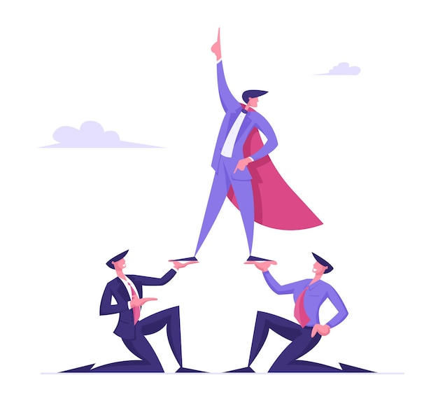 Business pyramid concept successful manager or businessman wearing super hero cloak