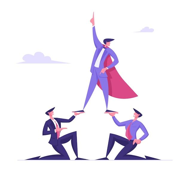 Бизнес-концепция пирамиды успешный менеджер или бизнесмен, носящий плащ супергероя