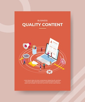 Business quality content people working on laptop for template of banner and flyer