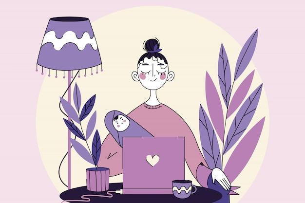 Business, quarantine, freelance, coronavirus, motherhood, childhood concept