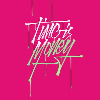 Business quote, time is money,  hand drawn typography brush lettering with drips