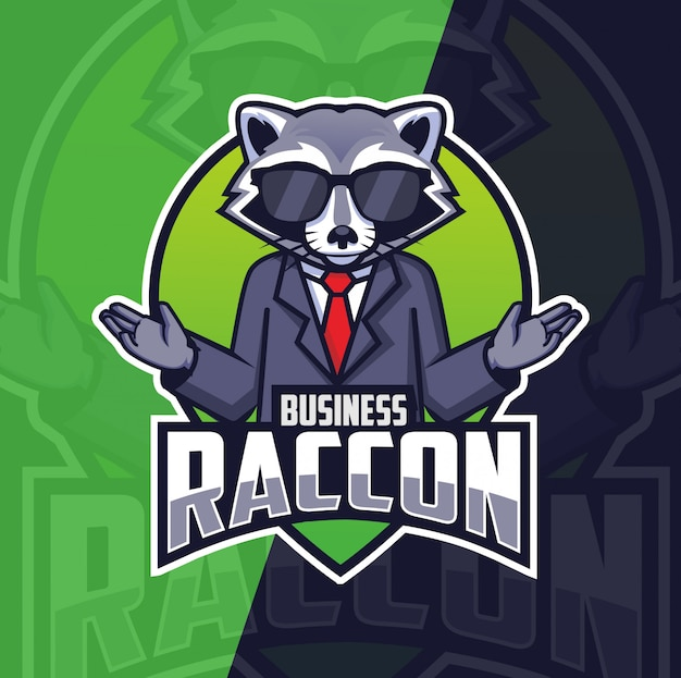 Business raccoon mascot logo design