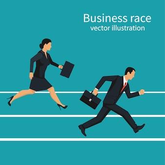 ビジネスレース。ビジネスマンと女性がトラックを実行しています。競争の概念。勝利戦略。イラストフラットデザイン。背景に分離されました。走る人。勝利への方向。