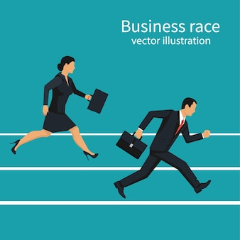 Business race. businessmen and women running down track. competition concept. winning strategy.  illustration flat design. isolated on background. running people. direction to victory.