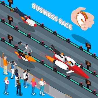 Business race isometric composition