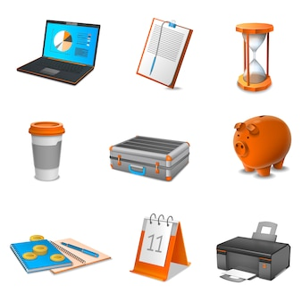 Business realistic icons set