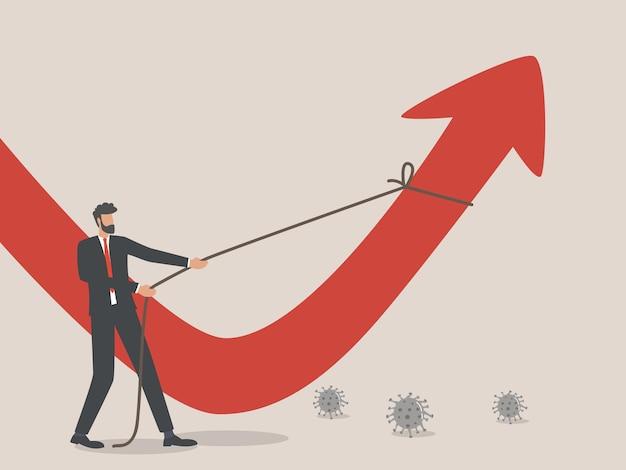 ビジネスの再建、ビジネスマンは、コロナウイルスのパンデミック後、世界経済を回復するための懸命な努力である赤い矢印を描きました。
