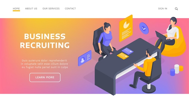 Business recruiting landing page banner template. specialists recruiting employee. man analyzing resumes and communicating with applicants during job interview in office. isometric  illustration