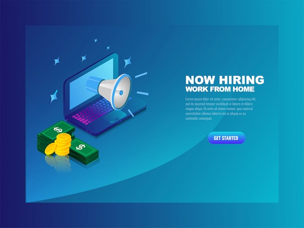 Business recruitment full remote illustration