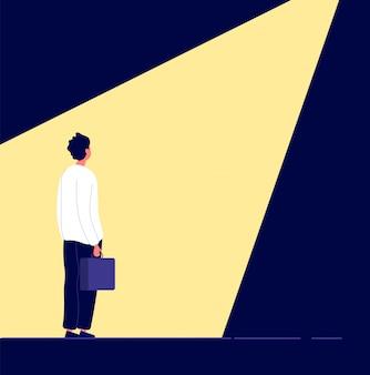 Подбор бизнеса. человек в центре внимания, выбор места работы в офисе.
