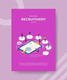 バナーやチラシのテンプレートの履歴書の周りに円の形で立っているビジネス募集人