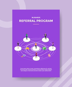 Business referral program people standing on circle shape connected to each other for template of banner and flyer