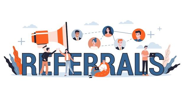 Бизнес-концепция рефералов веб-баннер. развитие бизнеса. иллюстрация в мультяшном стиле