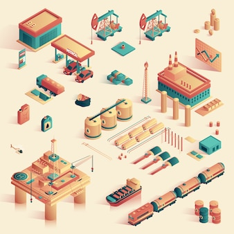Business in refinery mini plant isometric 3d.