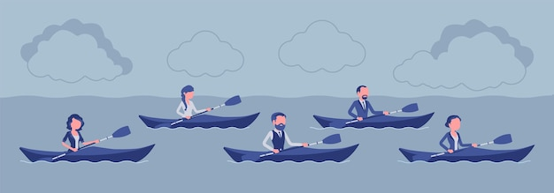 Business regatta on kayaks