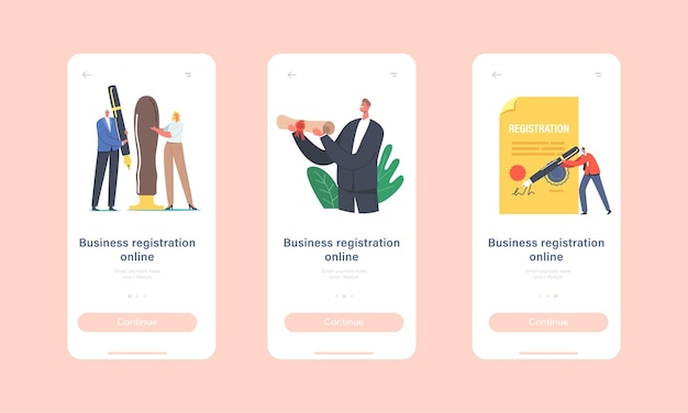 Business registration online mobile app page onboard screen template. tiny characters signing huge paper document for new company register and identity concept. cartoon people vector illustration