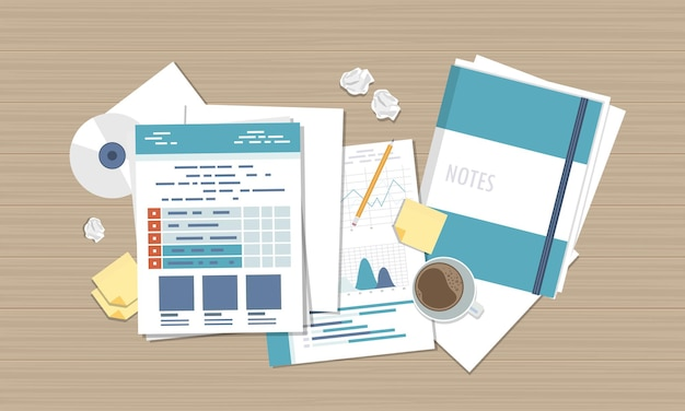 Business report accounting research illustration, top view