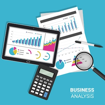 Business report analysis concept with tablet, calculator and magnifying glass symbol