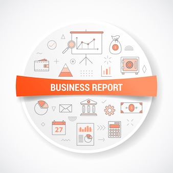 원형 또는 원형 모양 일러스트와 함께 개념으로 비즈니스 보고서 개념