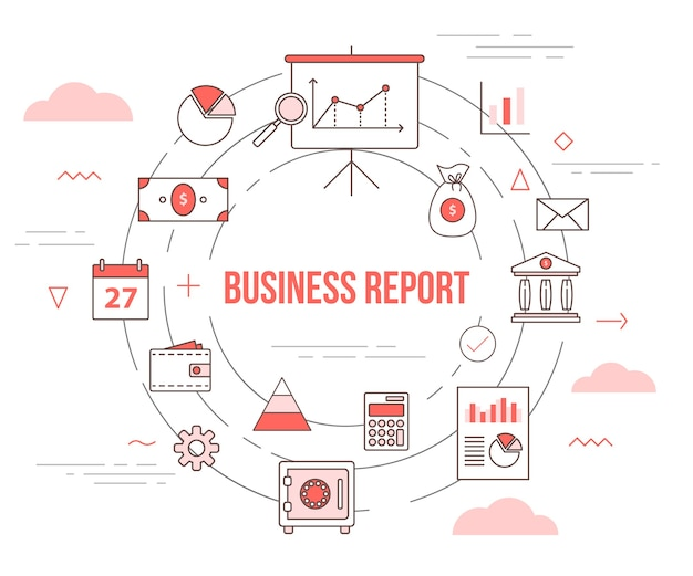 Business report concept with illustration set template  with modern orange color style