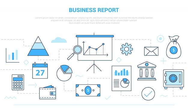 Концепция бизнес-отчета с различными линиями значков, такими как график и диаграмма, документ презентации с современным стилем линии