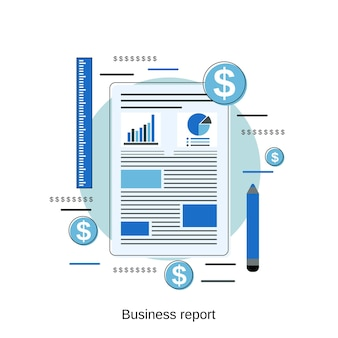 사업 보고서 평면 디자인 스타일 벡터 개념 그림