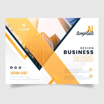 Business report flyer template with buildings photo