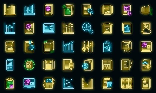 ビジネスレポートのアイコンを設定します。黒のビジネスレポートベクトルアイコンネオン色の概要セット