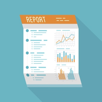 Business report office folded paper document isolated icon with long shadow charts graphs