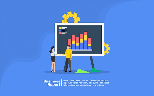 Business report with people character banner