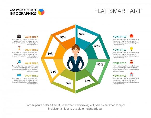 Modello di diapositiva del grafico di ricerca aziendale. grafico. concept creativo per infografica, report