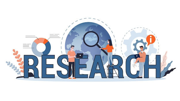 Business research concept web banner. team standing at the graph with finance data. analyzing diagram. business development.   illustration in cartoon style