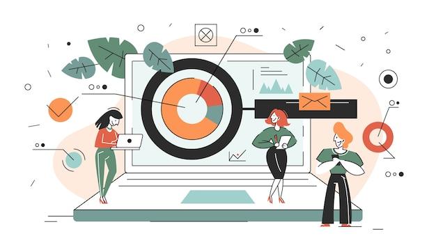 비즈니스 연구 개념 웹 배너입니다. 팀 스탠딩