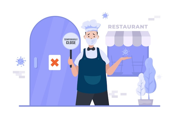 비즈니스 레스토랑은 전염병 일러스트레이션 동안 문을 닫습니다.