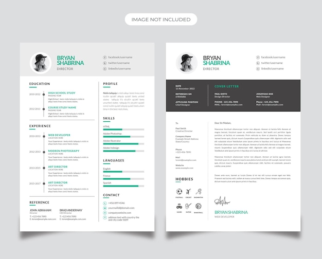 Business resume design with paste accent