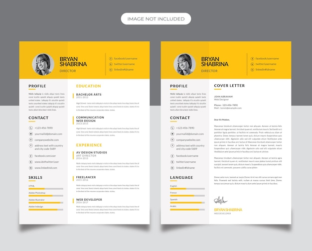 Business resume design with yellow accent