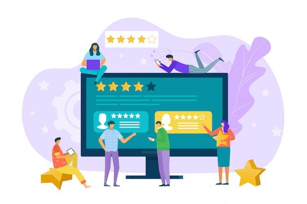 ビジネスレビューの概念、人オンライン分析図。人々は、レポートとフィードバックの評価バナーを報告します。漫画のキャラクターはデジタルの選択、良い満足感の社会的品質を作る