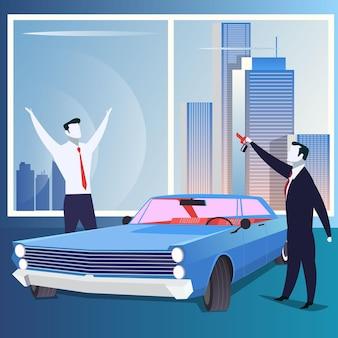 Business reward gift or car sale concept vector illustration