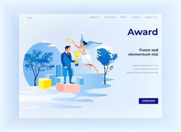Business reward for success design landing page
