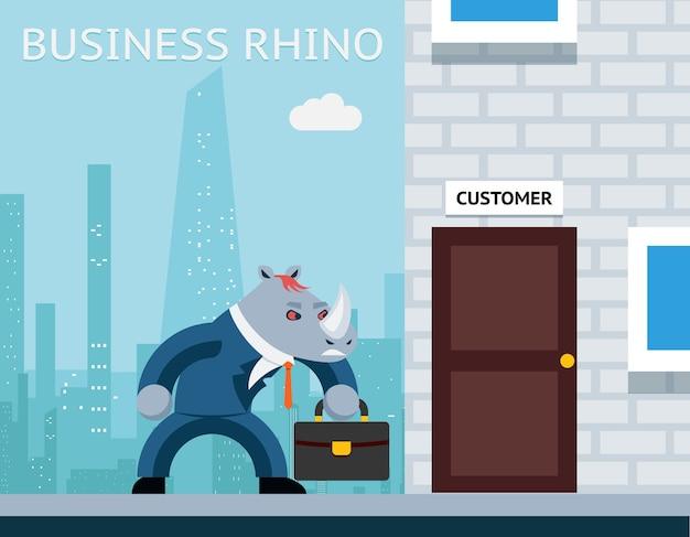 Деловой носорог. злой бизнесмен. характерное животное работа, рог и костюм.