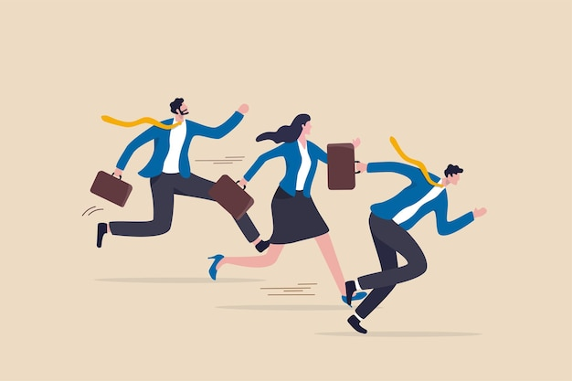 Business rival or competition, challenge to success in work and career, motivation or effort to win the business concept, business people competitor running fast with full effort to finish line.